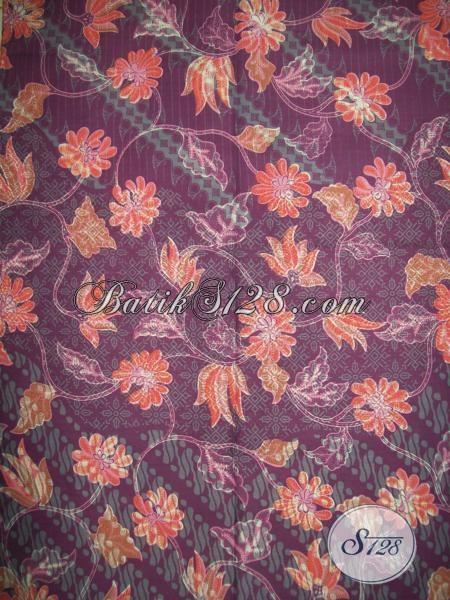 Kain Batik Trendy Motif Bunga Warna Kalem Cocok Untuk Busana Kerja Wanita Dewasa