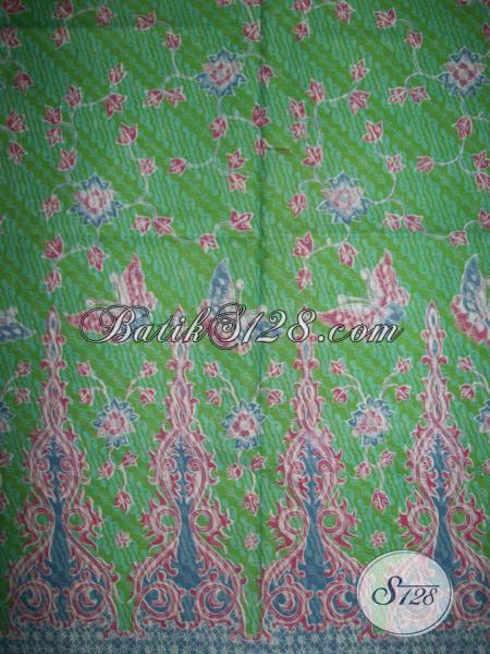 Jual Kain Batik Bahan Busana Wanita Tampil Cantik Dan Modern, Batik Solo Warna Hijua Motif Bunga Dan Kupu Keren