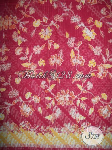 Kain Batik Solo Warna Merah Bagus Motif Trendy Masa Kini, Kain Batik Modern Cocok Untuk Baju Kerja Wanita Karir