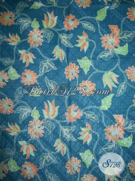 Butik Batik Online Sedia Kain Batik Bahan Busana Pria Wanita, Batik Solo Warna Biru Motif Terbaru Trendy Dan Bagus