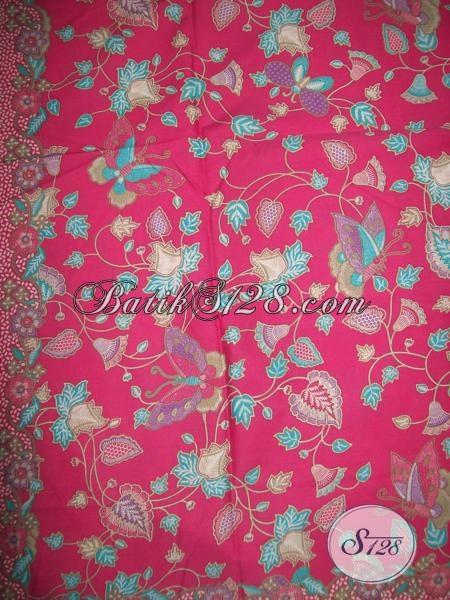 Kain Batik Motif Kupu-Kupu Dan Bunga Warna Merah Muda Cocok Untuk Longdress BAtik Wanita [K1325P]
