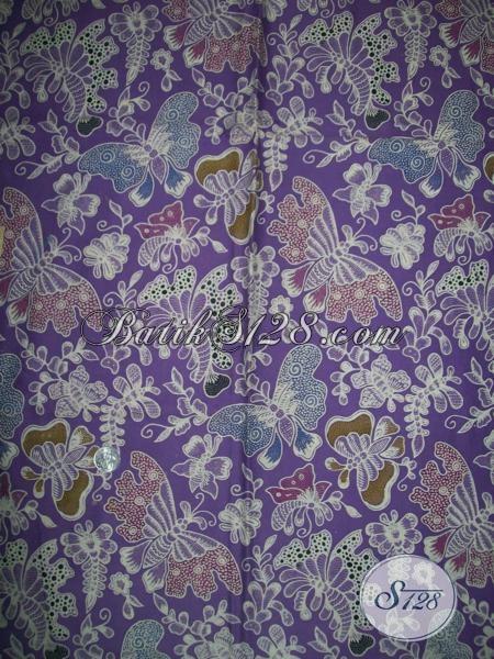 Bahan Busana Batik Kwalitas Bagus Asli Solo, Batik Biru Motif Kupu Istimewa Untuk Pakaian Wanita