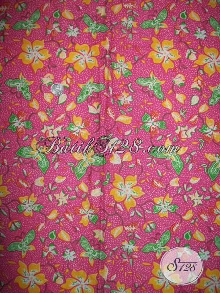 Motif Kupu Warna Pink Untuk Kain Batik Cantik Asli Solo [K1361P]