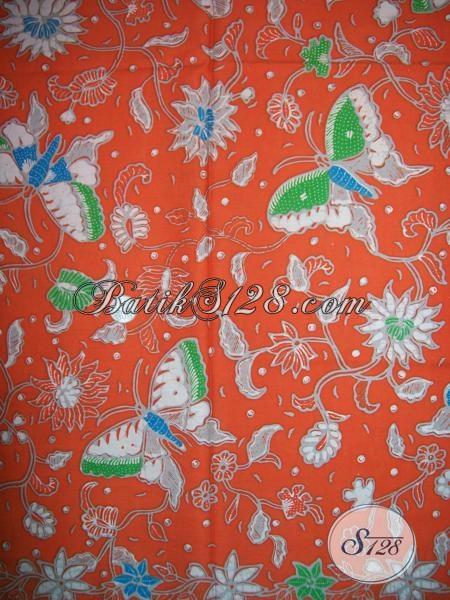 Cari Kain BAtik Warna Orange Motif Kupu-Kupu Cantik [K1391P]