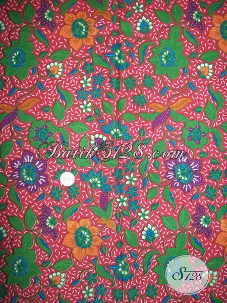 Kain Batik Warna Merah Daun Hijau Cantik Model Gambar