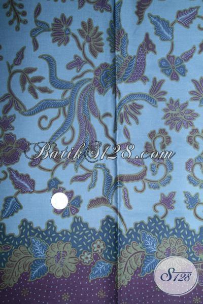 Batik Solo Motif Burung Cenderwasih Warna Biru , Kain Batik Bahan Busana Pria Dan Wanita Masa Kini