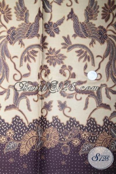 Kain Batik Solo Warna Coklat Muda Motif Burung Keren, Batik Kain Sempurna Untuk Busana Kerja Dan Acara Resmi