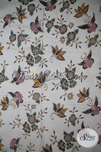 Batik Kain Motif Bunga Dan Kupu, Batik Klasik Modern Bahan Busana Kerja Wanita Karir Paham Fashion