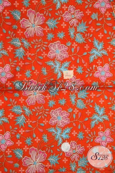 Kain Batik Printing Bahan Dress Murah Tidak Muraha, Batik Warna Orange Motif Bagus Dan Halus