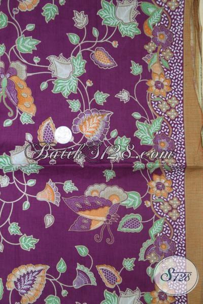 Batik Kain Warna Ungu Motif Bunga Untuk Bahan Blus Busana Kerja Wanita Kantoran [K1446P]