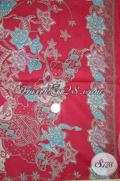 Jual Kain Batik Terbaru Dasar Merah Berpadu Motif Trendy, Untuk Blus Batik Modern Dan Fashionable