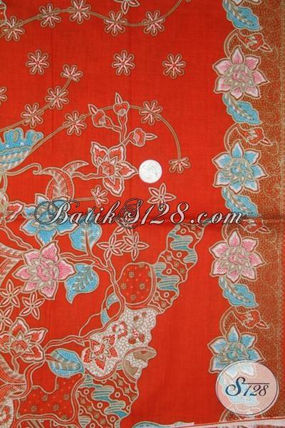 Batik Solo Warna Orange Motif Trendy, Cocok Untuk Bahan Dress Perempuan Muda Dan Remaja Putri