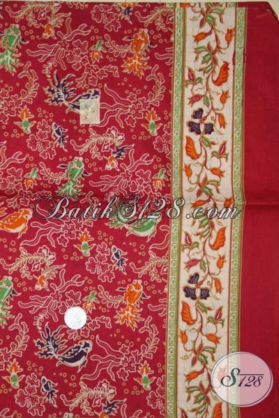 Kain Batik Merah Produk Asli Solo, Batik Kain Motif Ikan Dan Karang Modern Dan Trendy Untuk Pakaian Resmi
