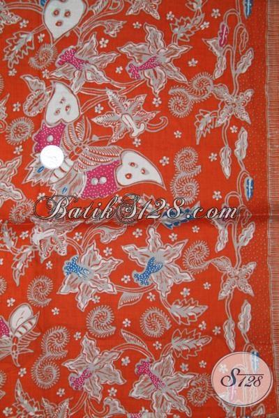 Batik Kain Warna Oranye Cocok Untuk Dress Cantik Dan Modern, Kain Batik Berkwalitas Harga Murah