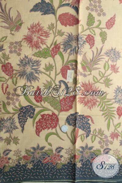 Kain Batik Print Lasem Dengan motif Bunga Dan Burung Berpadu Dengan Warna Kalem Berkesan Mewah Dengan Harga Yang Murah, Bisa Untuk Baju Blus Dan Dress
