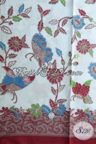 Batik Kain Bahan Baju Modis Dengan Motif Kupu Dan Bunga, Batik Bahan Blus Atau Dress Berkwalitas Bagus Harga Murah