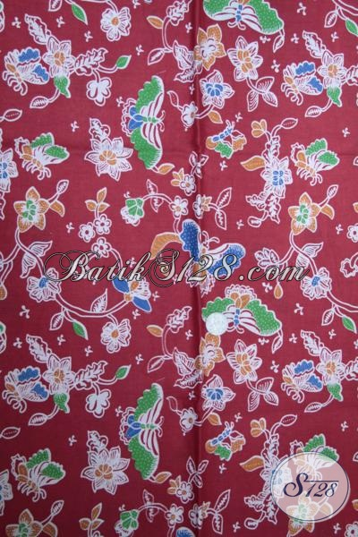 Toko Online Batik Solo Lengkap Dan Termurah, Sedia Batik Kain Warna Merah Untuk Bahan Baju Blus Wanita Karir Yang Trendy [K1495P]