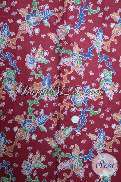 Jual Kain Batik Bagus Halus Harga Murah, Batik Kain Solo Warna Merah Bahan Busana Trendy Dengan Motif Terkini