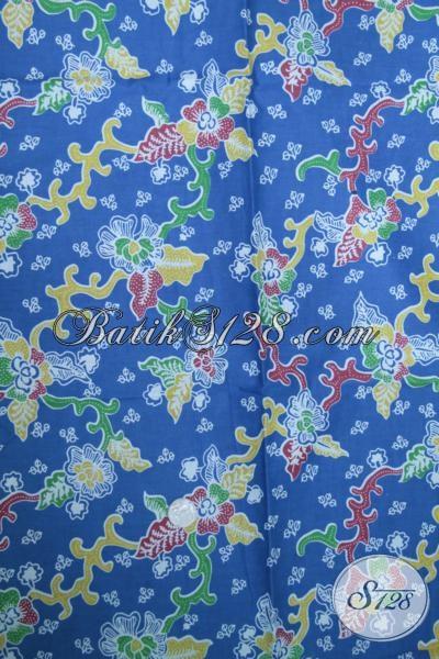 Batik Kain Kwalitas Bagus Harga Murah Asli Buatan Pengerajin Solo Jawa Tengah, Batik Biru Motif Trendy Bahan Blus Dan Kemeja