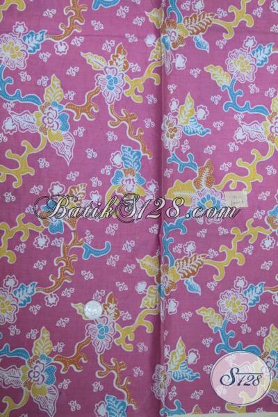 Kain Batik Pink Dengan Motif Bunga Cewek Banget, Batik Bagus Halus Adem Nyaman Diapakai Untuk Busana Dress Maupun Blus [K1500P]