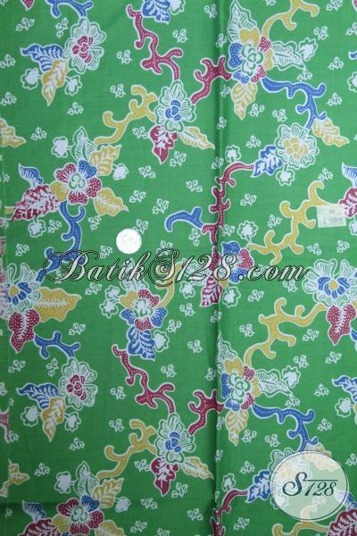 Sedia Kain Batik Kwalitas Bagus Bahan Busana Wanita Harga Sangat Terjangkau, Batik Solo Warna Hijau Motif Bunga Cocok Untuk Dress Wanita Muda Masa Kini [K1502P]