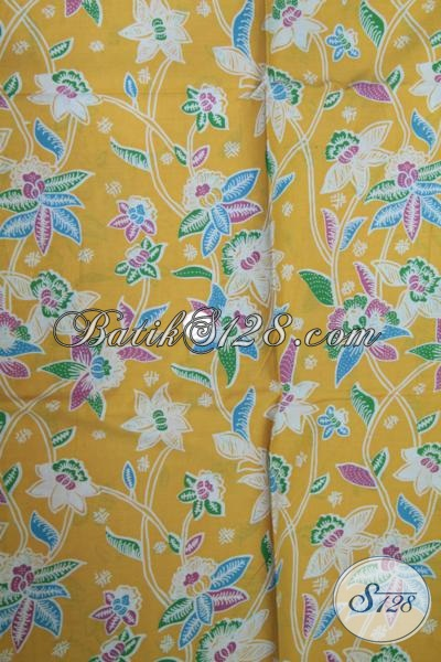 Kain Batik Bagus Warna Kuning Asli Produk Solo Indonesia, Batik Kain Berkwalitas Bahan Baju Wanita Muda Masa Kini