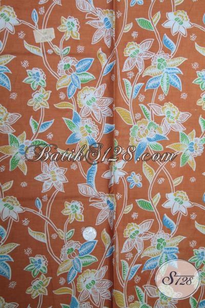 Kain batik Bahan Busana Trendy Warna Orange, Batik Print Kwalitas Bagus Harga Murmer