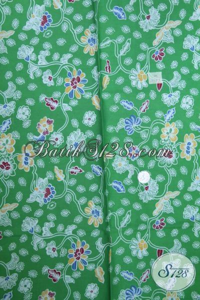 Batik Hijau Bahan Blus Terbaru Lebih Keren Dengan motif Bunga-Bunga, Kain batik Solo Murah Proses Print Kwalitas Terjamin