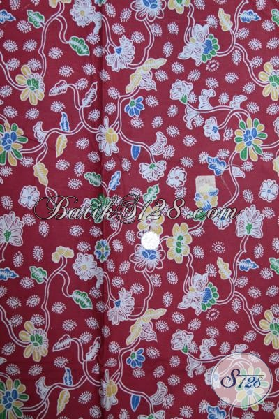 Kain batik Merah Motif Bunga Bagus Untuk Blus Maupun Dress, Kain batik Trendy Proses Print Harga Murah Meriah