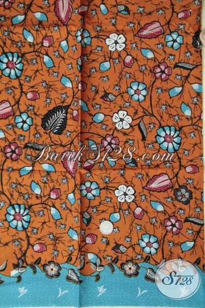 Kain Batik Print Warna Orange Bahan Busana Trendy Dan Fashionable Untuk Perempuan Muda Yang Ungin Tampil Kece [K1537P]