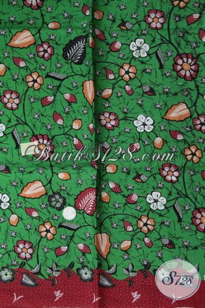 Jual Batik Kain Produk Terbaru Pengerajin Solo, Kain Batik Dasar Hijau Bahan Busana Modern Kwalitas Bagus Harga Murah Meriah [K1538P]