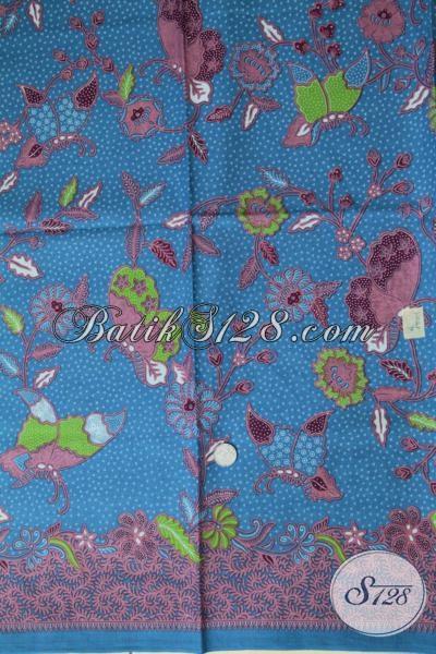 Kain Batik Warna Biru Motif Bunga Dan Kupu Modern Dan Trendy, Batik Bahan Blus Wanita Untuk Seragam Kerja Formal, Tampil Cantik Tidak Harus Mahal