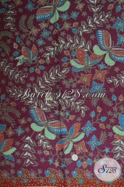 Toko Batik Online Terlengkap Di Solo, Jual Kain Batik Trendy Motif Bunga Dan Kupu Dengan Warna Dasar Merah Hati Keren Dan Elegan Untuk Blus Batik Perempuan Karir [K1547P]