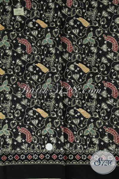 Kain Batik Bagus Motif Modern Dasar Hitam Cocok Untuk Busana Formal, Batik Solo Proses Cap Tulis Kwalitas Bagus Harga Terjangkau