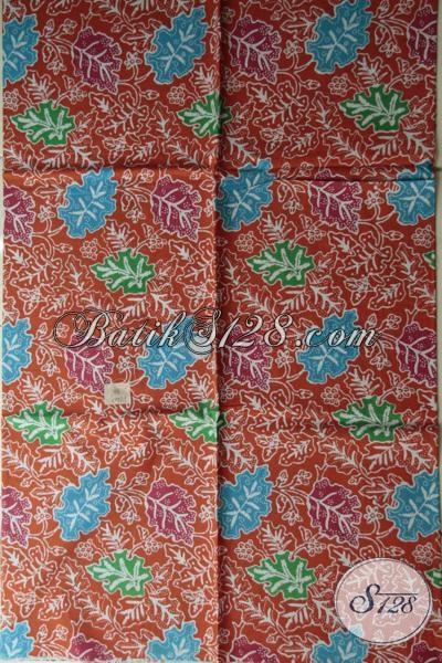 Jual Batik Solo Proses Print Harga Murah Meriah, Kain Batik Bahan Dress Cantik Warna Orange Berbahan Halus Dan Adem