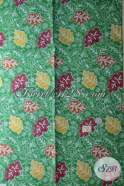 Jual Batik Solo Murah Meriah, Kain Batik Print Kwalitas Bagus Warna Hijau Motif Dedaunan Bisa Untuk Baju Kerja Maupun Santai
