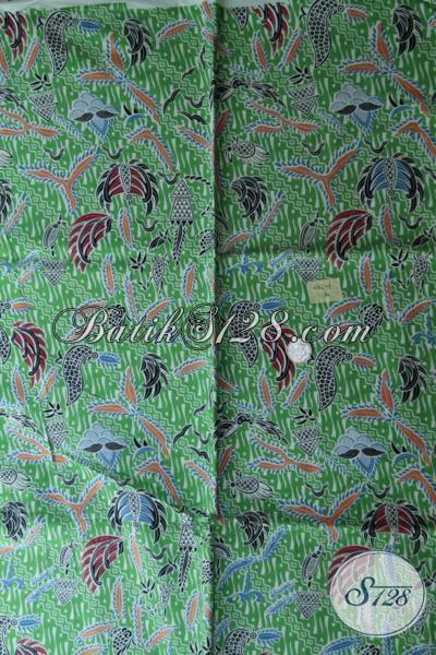 Jual Kain Batik Online Murah Meriah Kwalitas Bagus, Batik Print Asli Produk Solo Motif Keren Warna Hijau Cocok Untuk Busana Kerja Maupun Baju Santai