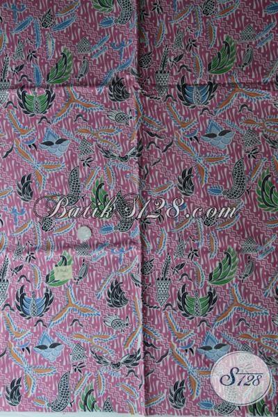 Batik Solo Motif Terbaru Warna Dasar Merah Jambu, Kain Batik Bahan Busana Cewek Kwalitas Bagus Harga Murah Meriah