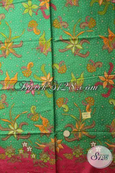 Kain Batik Bahan Blus Warna Hijau Motif Bunga Kwalitas Bagus, Batik Print Solo Harga Murmer Setiap Hari Untuk memenuhi Kebutuhan Fashion Perempuan Karir
