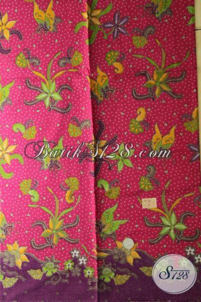 Batik Kain Warna Pink Dengan Motif Unik Dan Menarik, Batik Solo Modern Bahan Blus Kerja Perempuan Kantoran