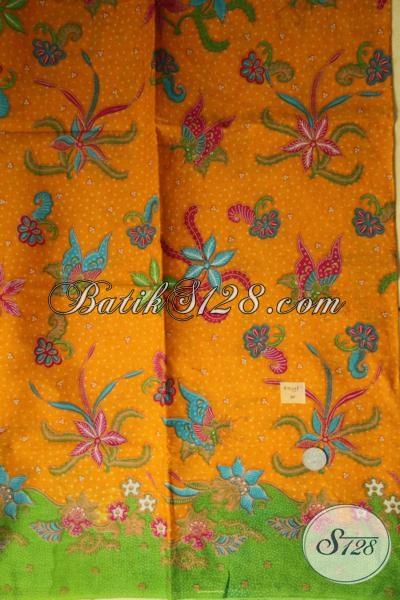 Kain Batik Tradisional Solo Dengan Sentuhan Modern Untuk Bahan Busana Wanita, Batik Warna Kuning Motif Bunga Kwalitas Halus Harga Sangat Terjangkau