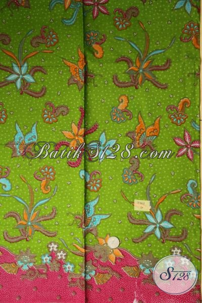 Batik Print Warna Hijau Motif Bunga Dan Kupu, Kain Batik Murah Produk Pengerajin Solo Kwalitas Terjamin