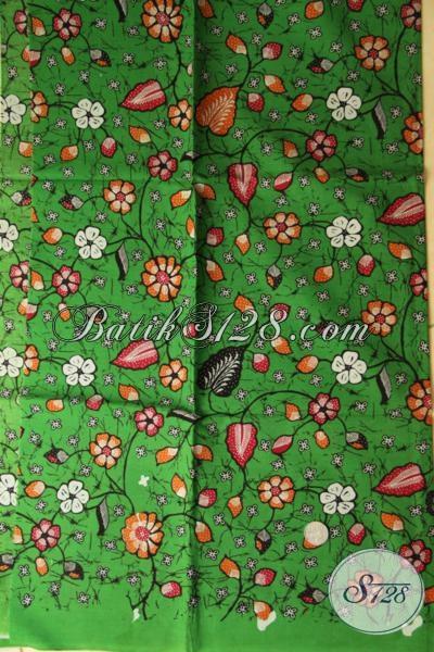 Kain Batik Print Warna Hijau Motif Keren, Batik Solo Bahan Pakaian Modis Dengan Harga Sangat Terjangkau