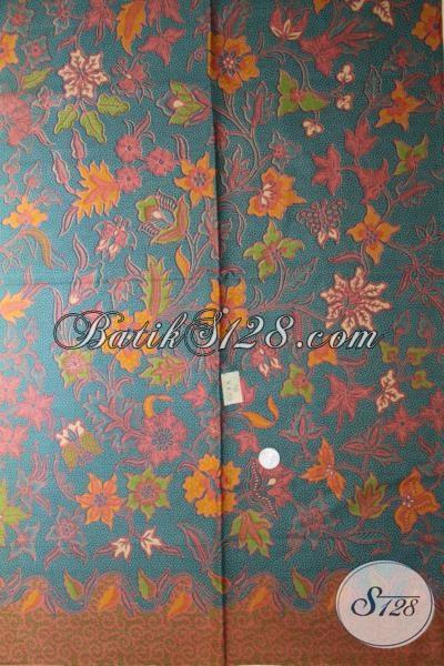 Bahan Busana Batik Kwalitas Bagus Dengan Motif Bunga-Bunga Harga Murah, Batik Print Lasem Asli Solo Warna Trendy Kwalitas Terjamin