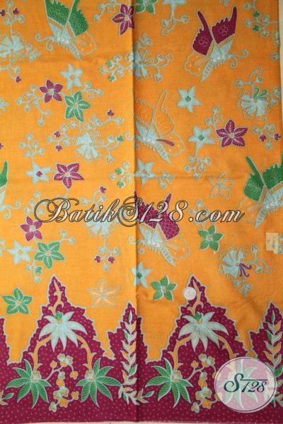 Sedia Kain Batik Solo Warna Kuning Dengan Motif Bunga, Batik Print Bahan Dress Cantik Untuk Wanita Tampil Lebih Trendy Dan Percaya Diri