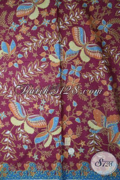 Kain batik Print Warna Ungu Motif Terkini Yang Lebih Modern Dan Berkelas, Batik Solo Bahan Baju Blus Cewek Tampil Bergaya
