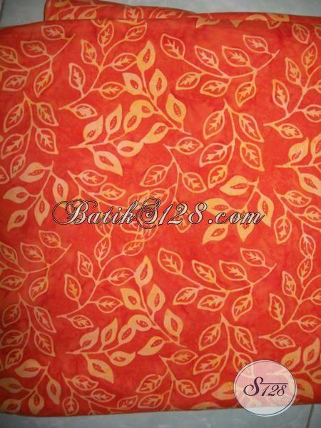Batik Kain Warna Orange Motif Unik Dan Simple, Batik Cap Smoke Produk Solo Asli Pas Buat Baju Santai Maupun Formal