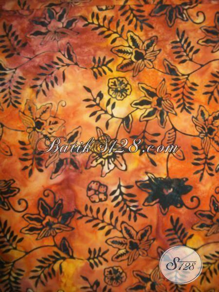 Batik Kain Modern Khas Solo Jawa Tengah, Batik Proses Cap Smoke Motif Bunga Kwalitas Bagus Harga Murah Meriah