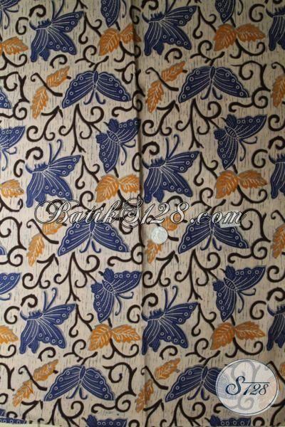 Kain Batik Jawa Motif Kupu-Kupu Cocok Untuk Bahan Blus Kerja Wanita Karir, Kain batik Print Halus Harga Murah Meriah