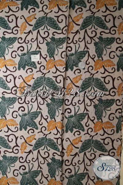 Batik Kain Dasar Hitam Motif Kupu-Kupu Hijau Proses Print, Batik Bahan Busana Untuk Tampil Lebih Keren Dan Modis